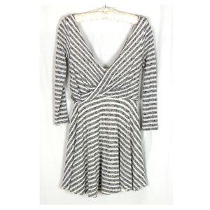 Free People Size XS Black Cream Stripe Dress